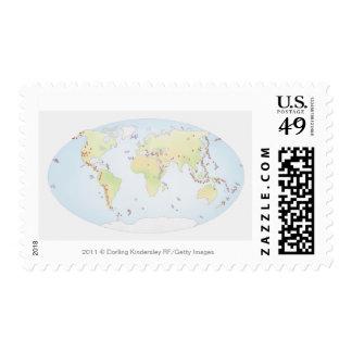 Mapa del mundo que muestra sitios de la actividad envio