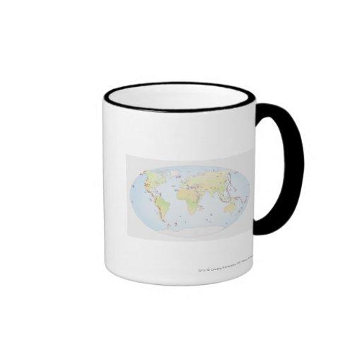 Mapa del mundo que muestra sitios de la actividad  taza de café