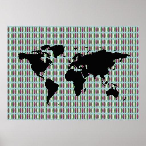 mapa del mundo que practica surf póster