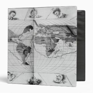 """Mapa del mundo que remonta el viaje del mundo de carpeta 1 1/2"""""""