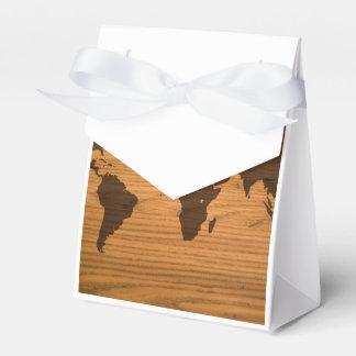 Mapa del mundo quemado madera caja para regalos