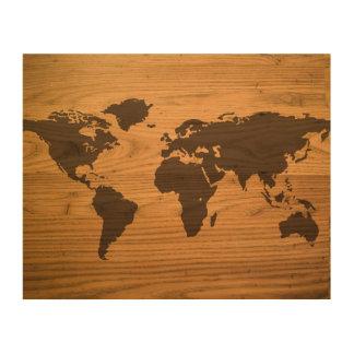 Mapa del mundo quemado madera impresión en madera