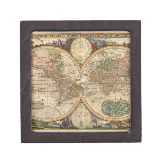 Mapa del mundo raro e histórico viejo antiguo cajas de joyas de calidad