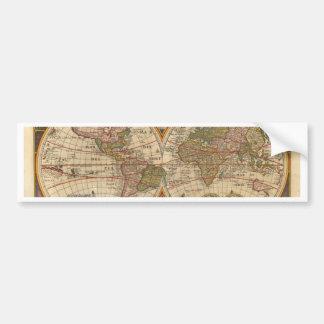 Mapa del mundo raro e histórico viejo antiguo etiqueta de parachoque
