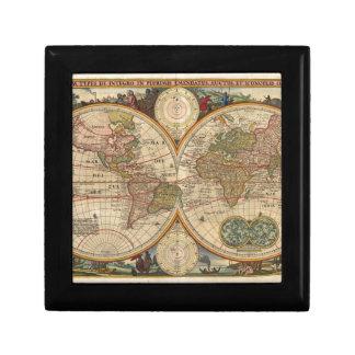 Mapa del mundo raro e histórico viejo antiguo joyero cuadrado pequeño