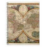 Mapa del mundo raro e histórico viejo antiguo libro de apuntes