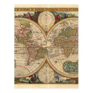 Mapa del mundo raro e histórico viejo antiguo tarjeta postal