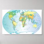 Mapa del mundo rasguñado poster