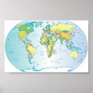 Mapa del mundo rasguñado póster