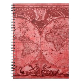 Mapa del mundo rojo J Blaeu 1664 de la antigüedad Libreta