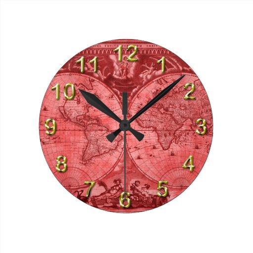 Mapa del mundo rojo J Blaeu 1664 de la antigüedad  Relojes