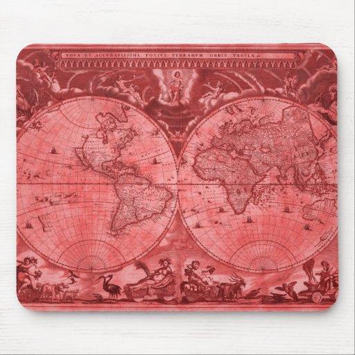 Mapa del mundo rojo J Blaeu 1664 de la antigüedad Tapete De Raton