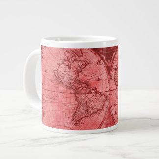 Mapa del mundo rojo J Blaeu 1664 de la antigüedad Taza De Café Grande