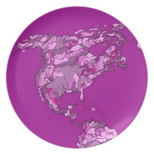 Mapa del mundo rosado platos de comidas