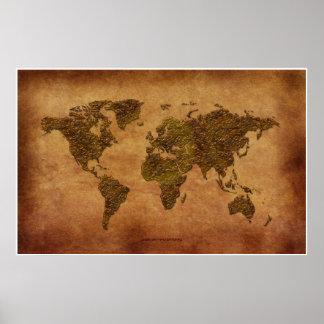 Mapa del mundo rústico 3D en Pergamino-efecto Poster