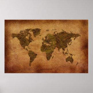 Mapa del mundo rústico 3D en Pergamino-efecto Posters