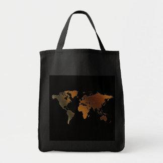 ¡Mapa del mundo rústico moderno en grande un artíc Bolsas De Mano