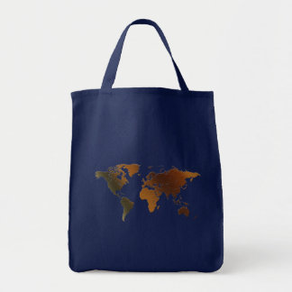¡Mapa del mundo rústico moderno en grande un artíc Bolsa De Mano