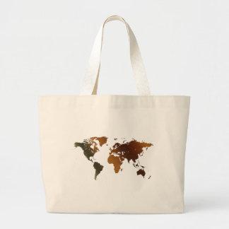 ¡Mapa del mundo rústico moderno en grande un artíc Bolsa