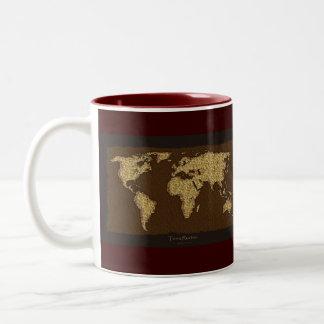 ¡Mapa del mundo rústico moderno en grande un artíc Taza Dos Tonos