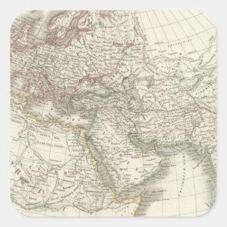 Mapa del mundo sabido a los ancients pegatina cuadrada