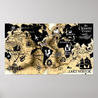 Mapa del mundo sagrado de la serie de la respiraci póster