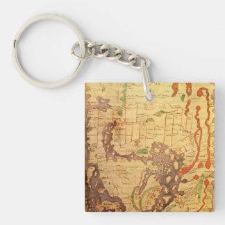 Mapa del mundo sajón Anglo Llavero Cuadrado Acrílico A Doble Cara