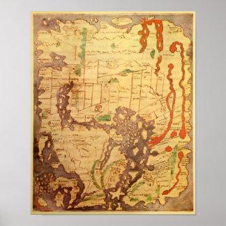 Mapa del mundo sajón Anglo Póster