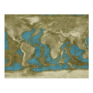 Mapa del mundo secado tarjetas postales