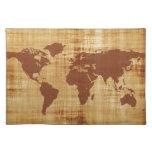 Mapa del mundo sucio texturizado mantel