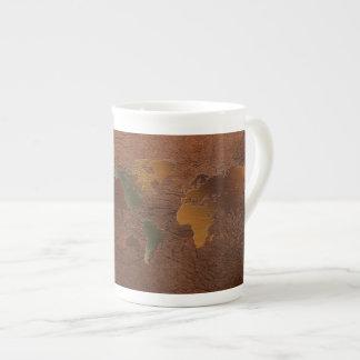 Mapa del mundo, taza de café de la porcelana de hu taza de porcelana