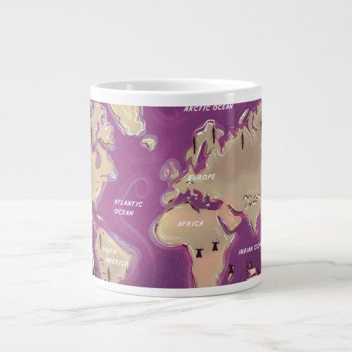 Mapa del mundo taza grande
