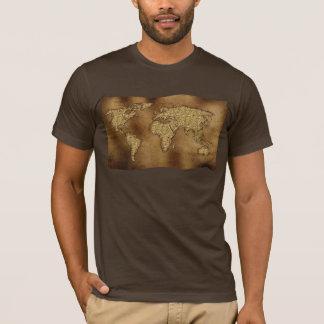 MAPA DEL MUNDO texturizado en la camiseta del