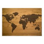 Mapa del mundo texturizado viruta invitación 8,9 x 12,7 cm