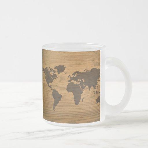 Mapa del mundo texturizado viruta tazas