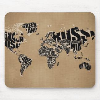 Mapa del mundo tipográfico alfombrillas de ratón