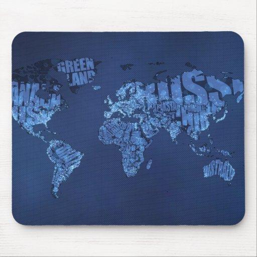 Mapa del mundo tipográfico (noche) mouse pad