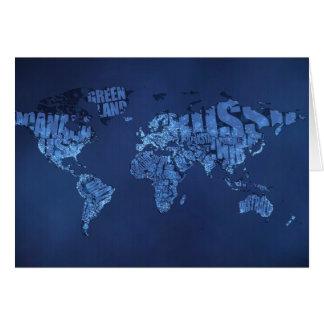 Mapa del mundo tipográfico (noche) tarjeta de felicitación
