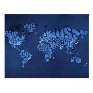 Mapa del mundo tipográfico (noche) tarjeta postal