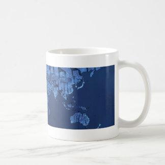 Mapa del mundo tipográfico (noche) taza de café