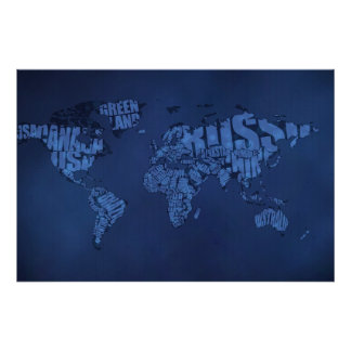 Mapa del mundo tipográfico (oscuro) póster
