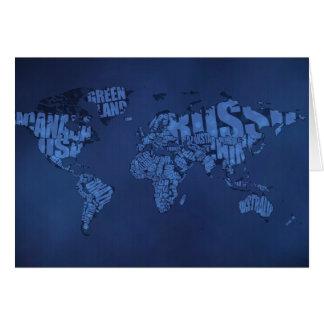 Mapa del mundo tipográfico (oscuro) tarjeta de felicitación