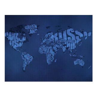 Mapa del mundo tipográfico (oscuro) tarjetas postales