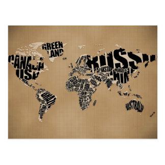 Mapa del mundo tipográfico tarjeta postal