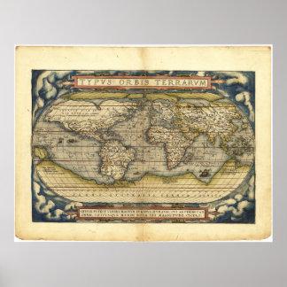 Mapa del mundo Typus Orbis Terrarum de Abraham Ort Impresiones