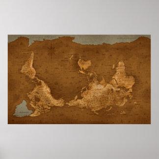 Mapa del mundo - upside-down impresiones