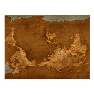 Mapa del mundo - upside-down tarjeta postal