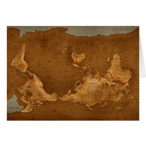 Mapa del mundo - upside-down tarjetón
