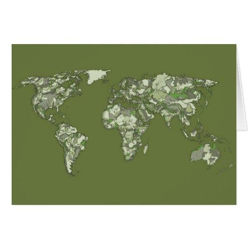 Mapa del mundo verde de color caqui tarjeton