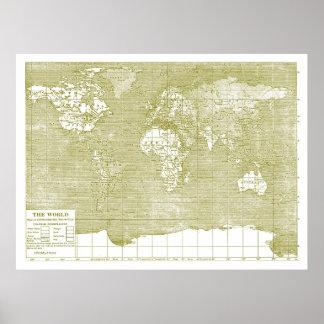 Mapa del mundo verde del vintage póster